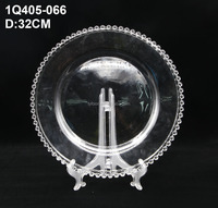 Wholesale clear glass charger plate with gold / silver beaded for wedding , cheap price