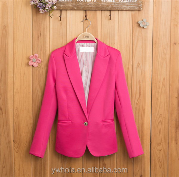OEM Service New Fashion Women Candy Color Jacket Lady Mini Office Suit Coat