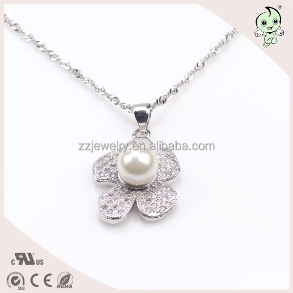 925 Sterling Silver Chain With Clover Pendant With 8MM Pearl, Flower Pendant Silver Necklace Chain
