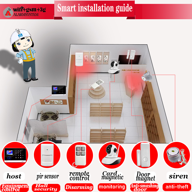 8 kind of languages Support in Security Panel and Smart Phone APP WIFI GSM Home House Alarm system