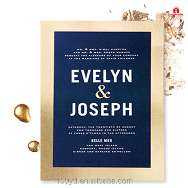 Gold foil edge printing greeting card wedding invitations