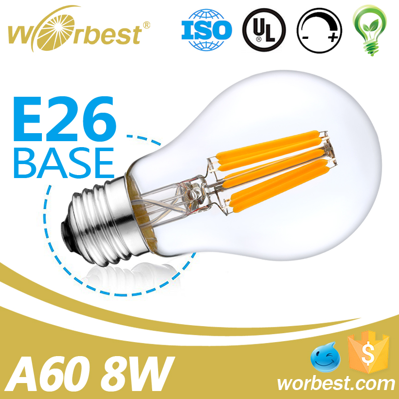 Worbest China Supplier E26 A60 120V 8W Led Filament Light/Led Filament Bulb/Led Filament Lamp