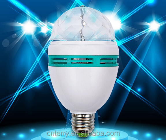 Newly launched Auto Mini Party Light Stage Lighting LED Bulbs E27 B22 3W Bulb Full Color RGB LED Plastic Rotating Lamp