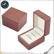 custom high quality wooden painting jewelry double ring box with PU leather insert handmade