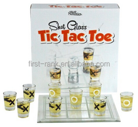 New way for board and drinking game with glass tic tac toe set for happy time
