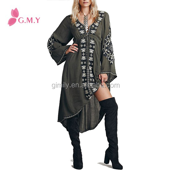 Women casual embroidery loose high low hem boho chiffon dress