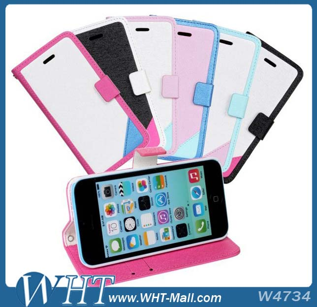 Silk Print Candy Color Wallet Leather Flip Bag Case for iPhone 5