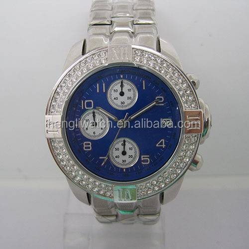 High quality stainless steel mens chronograph watch with stone setting on case & 3eyes design on dial