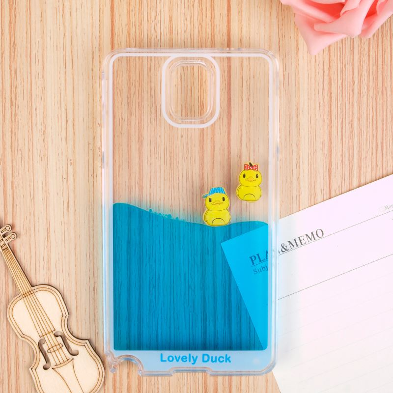 Waterfall Aqua Tank Shell Float Swimming Rubber Duck PC Cover For Samsung Note 3 4 5 T Korean Phone Cases