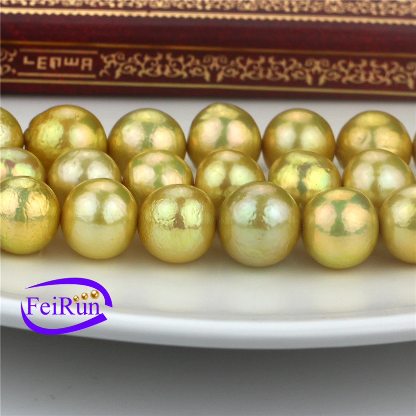 11-14mm AA- round edison luxury rare natural freshwater dyed gold pearl strand