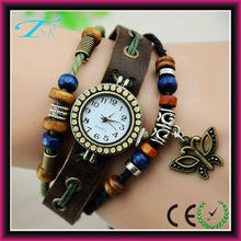 Butterfly vintage pendant watches, Fashion Weave Wrap Around Leather Bracelet Lady Woman Wrist Watch