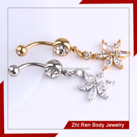 Clear cz flower Gold fake belly button Ring