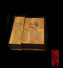 Luxury 1 bottle Wood textail paper gift wine box wooden box