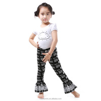 Summer cool casual T-shirt black letter printed bubble pant baby girl clothes set 2 pcs clothing of kids
