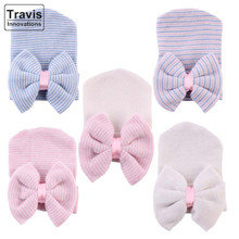 Newborn Infant Girl Warm Hospital Comfy Bowknot Stripe Cotton Hat