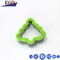 chrismas tree shape green stainless steel cookie cutter