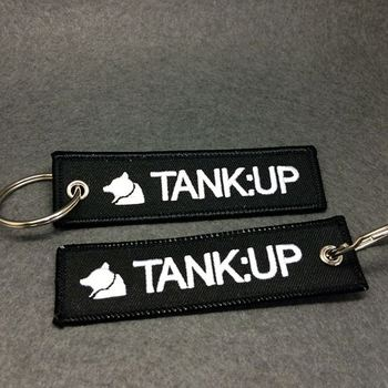 promotional embroidery logo custom fabric keychain