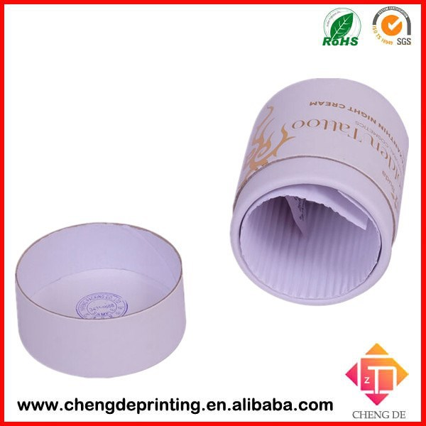2015 gold foil stamping night cream cosmetic packaging round tube cylinder box with cushion pad inside