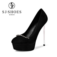 D252 Latest design kid suede leather 13cm stiletto women metal silver thin high heel shoes with rhinestone