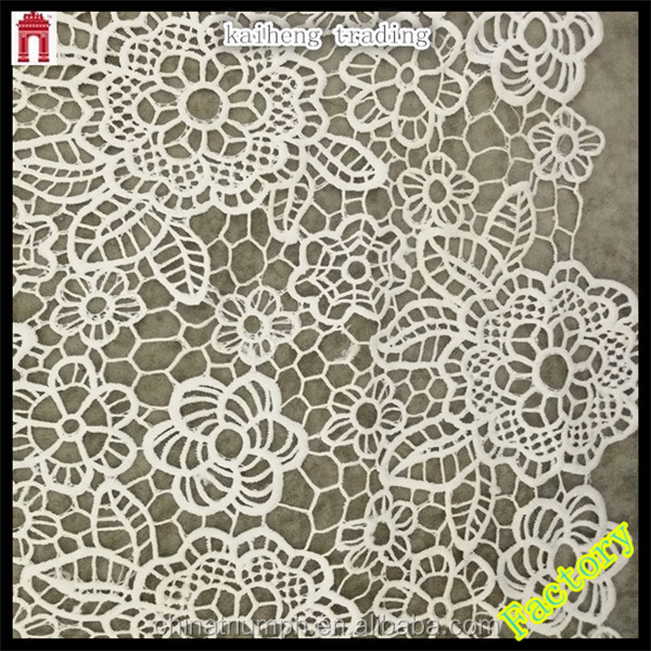 100% polyester water soluble lace flower embroidered african george fabric