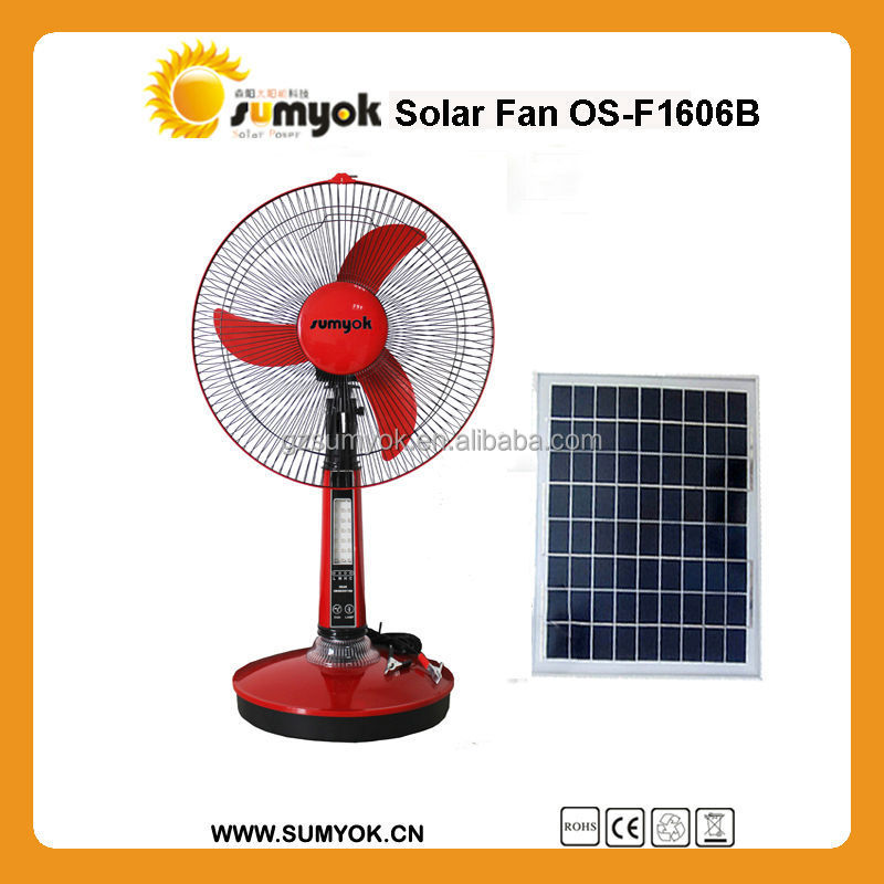 factory Popular design solar fans price good 12v dc table fan with battery inside and led light