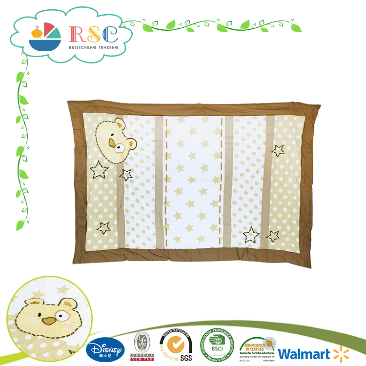 Baby quilt cover and bed sheet aplic work 6pcs set pvc bag packing