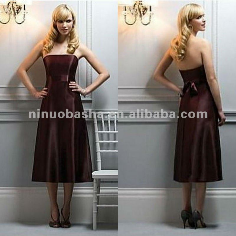 NN-117 A*-line Strapless Knee-length Satin Evening Dress/Short Party Gown