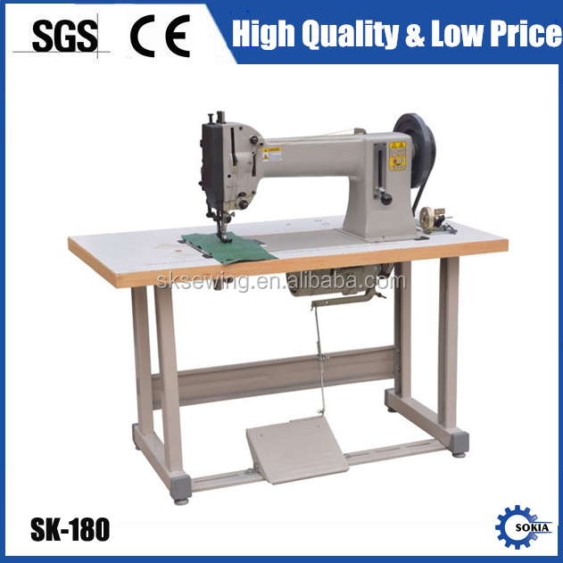 Extra heavy-duty compound feed lockstitch sewing machine for leather