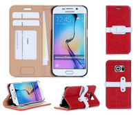 Beautiful stand wallet flip mobile phone case for Samsung S6 Edge with special belt design