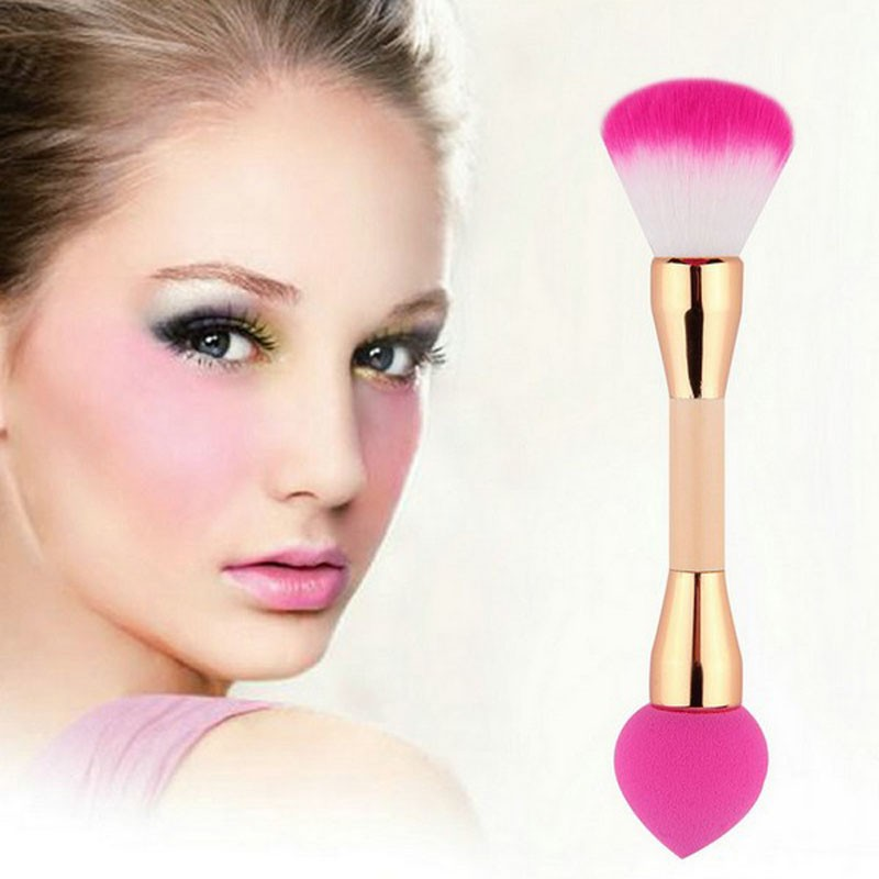 1pcs double-end bamboo handle foundation brush private label single makeup sponge maquillaje