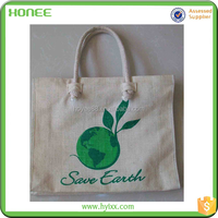 cheap laminated plastic hessian tote shopping bag with logo printing manufacture