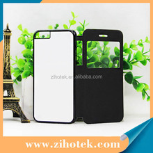 Blank printing sublimation flip leather cell phone case for iphone 6s with window opend