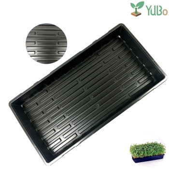 Hot sale plastic black 1020 flat tray, grow wheatgrass hydroponics tray for nursery