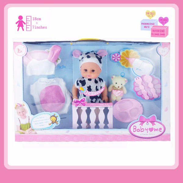 Sweet Fashion 14 Inch Vinyl Soft Plastic Baby Doll with Gift Box and Accessories