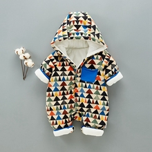 Cute Autumn Winter Cotton Baby Romper Long Sleeve Coverall Hooded Infant Jumpsuit Down Snowsuit Babies