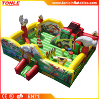 large inflatable fun city, Bob the builder amusement park, inflatable playground for kids