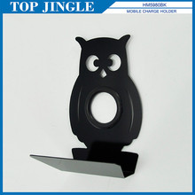 Owl Shaped Black Metal Cell Phone Charging Holder