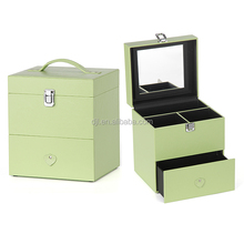 Small mobile PVC Leather Cosmetic Box Makeup Beauty Case with Drawer Mirror