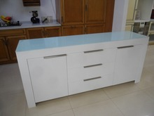 scandinavian solid oak legs white MDF sideboard with 5 drawers kitchen sideboard