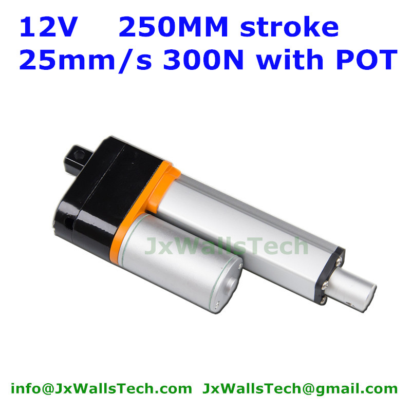 waterproof 12V DC 250mm stroke 25mm/s 300N load MINI linear actuator with potentiometer POT