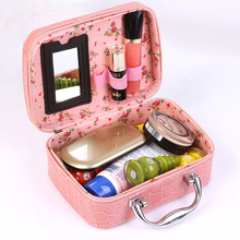Elegant Fake Crocodile Texture PU Leather Beauty Cosmetic Makeup Case