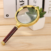 BIJIA Antique Wood Handle Metal Magnifying Glass 80mm 90mm fo Reading
