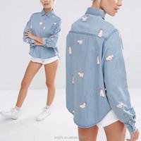Wholesale Clothing Long Sleeve Denim Women Shirt With Bunnies Print