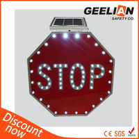 3MM thin LED flashing Solar stop traffic sign
