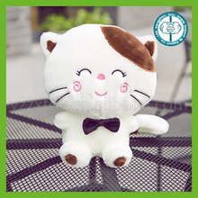 Custom soft animal toys plush white cat with rich expression