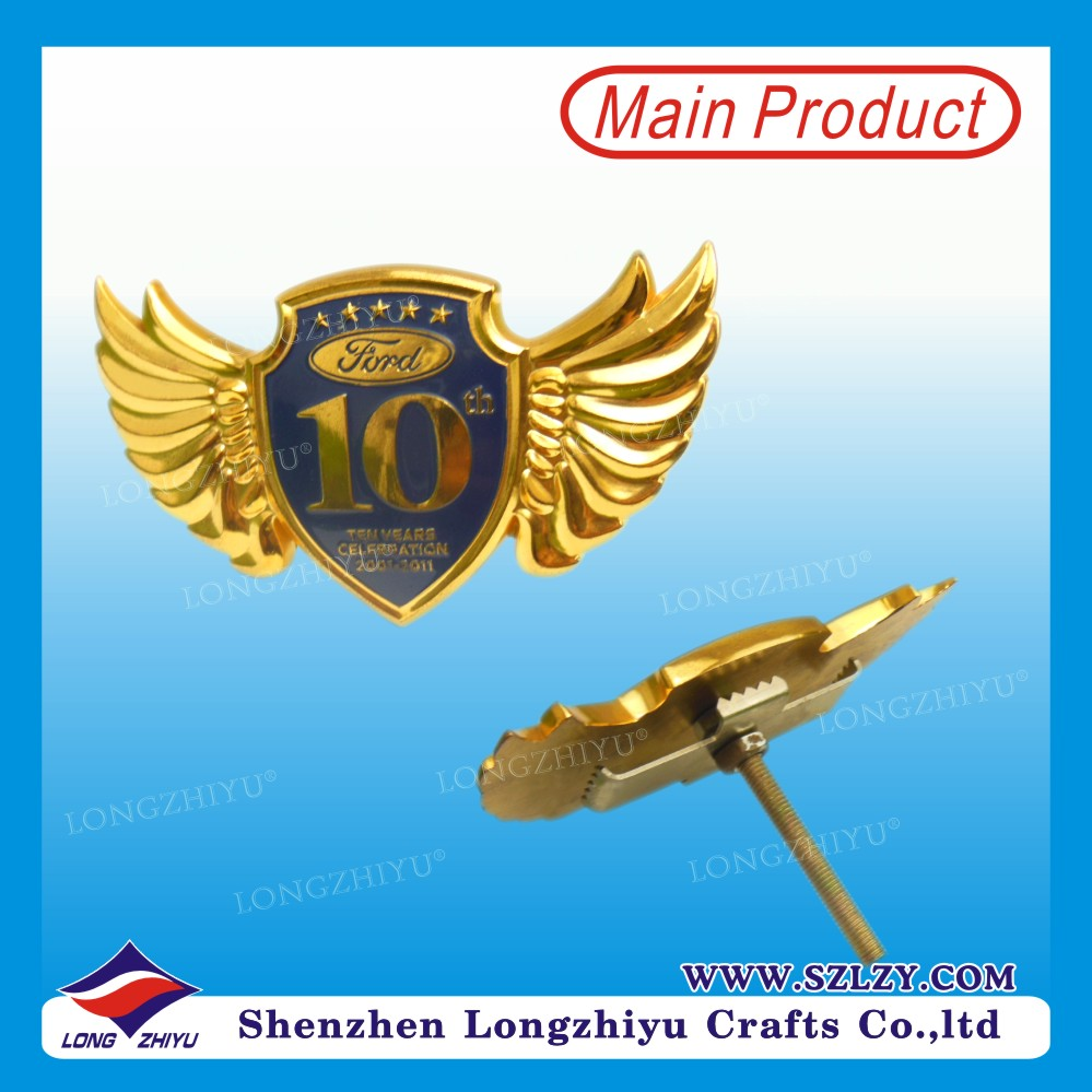 Eagle wings shaped metal car badge emblem
