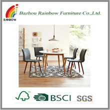 Bazhou wood-like dining room round table set/table and fabric chairs