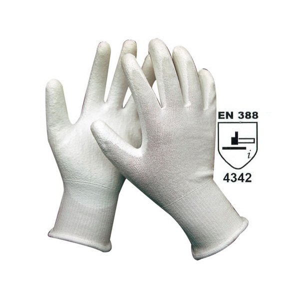 white HDPE liner with white PU coat cut resistant glove