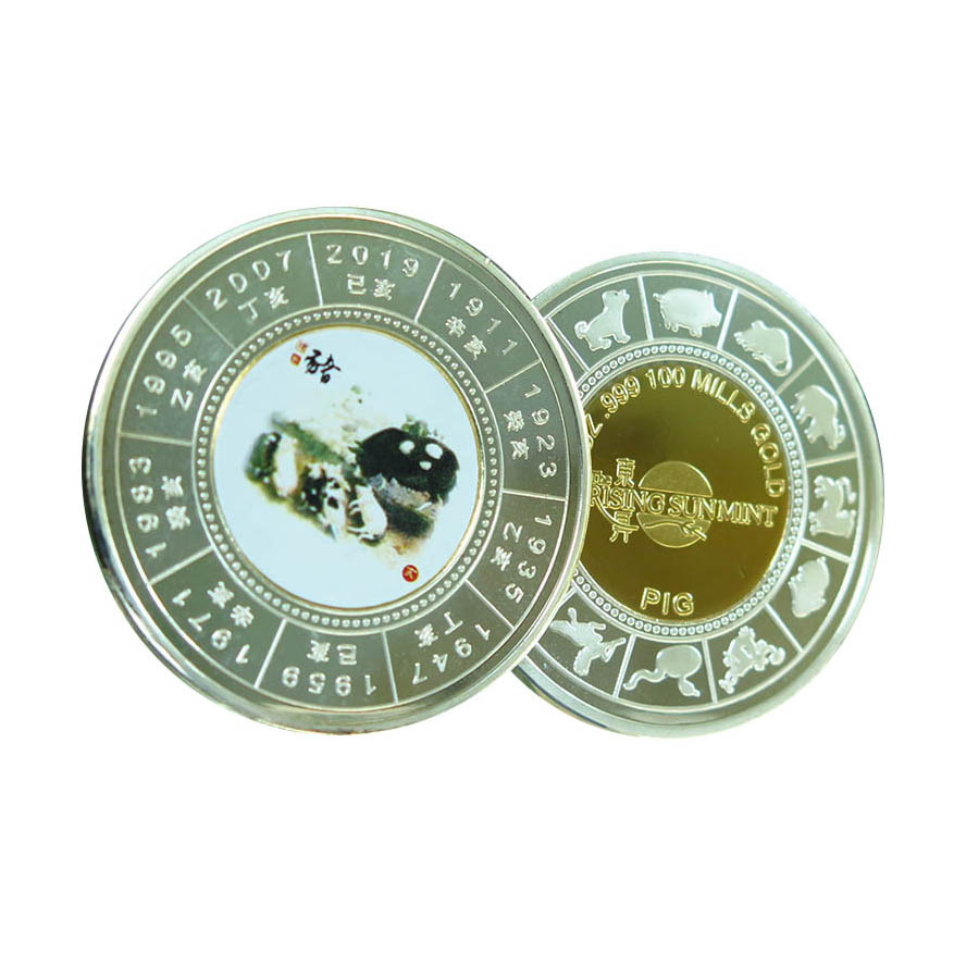 New Arrival sale old coins custom 1 oz Year of the Pig Round coin