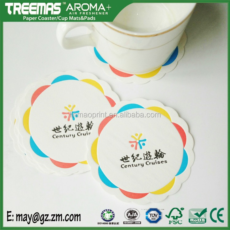 Decorative hotel supply absorbing tissue paper coaster with own design